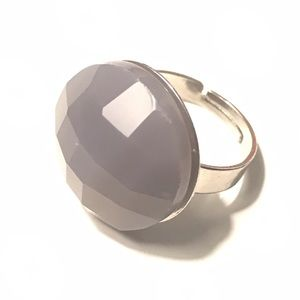 Fashion Ring Gray Stone Adjustable 7+